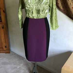 Halogen Purple/Black Color Block Pencil Skirt